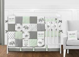 Sweet Jojo Designs Mint, Grey and White Watercolor Elephant