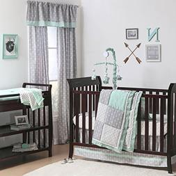 Mint Woodland and Geometric Patchwork 3 Piece Crib Bedding b