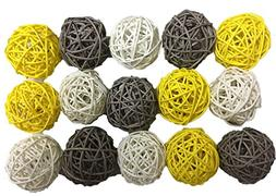 15PCS Mixed Gray Yellow White Wicker Rattan Ball Wedding Chr