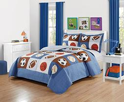 Mk Collection 3pc Bedspread Boys Sport Football Basketball B