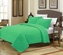 Mk Collection 3pc Crafted and quilted Bedspread with New Mat