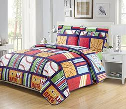 Mk Collection Quilted Bedspread Set All Star Sports Baseball