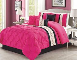 Modern 5 Piece Bedding Hot Pink, Black, Off-White Geometric
