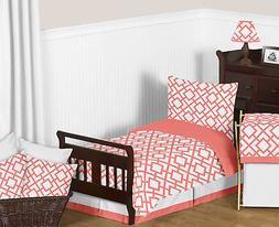 Sweet Jojo Designs Modern Coral White Diamond Girl Toddler C