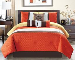 modern oversize orange brown white