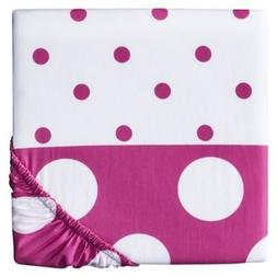 Circo Duo Modern Print Fitted Crib Sheet Pink and White Polk