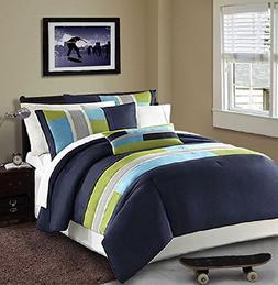 Modern Teen Bedding Boys Kids 3 Piece Comforter Set Navy Blu