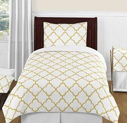 Modern White and Gold Trellis Lattice Girls 4 Piece Twin Bed