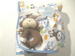 FIRST MOMENTS Monkey Baby Blanket & Rattle Gift Set 30 X 30""