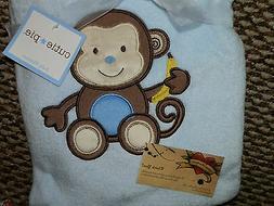 Cutie Pie Monkey Blue Baby Blanket