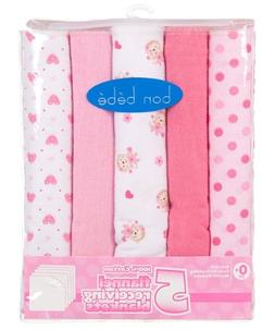 Monkey Dots Solids 5 pack Baby Receiving Blankets