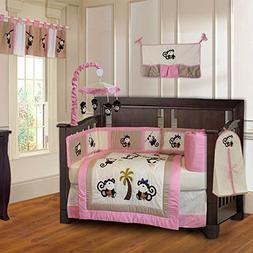 BabyFad Monkey Girl 10 Piece Baby Crib Bedding Set