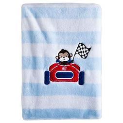 Circo Monkey Racer Race Car Blue White Striped Baby Blanket