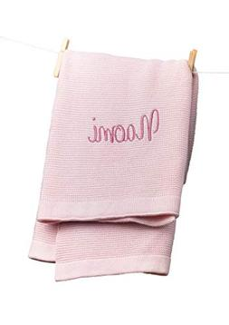 Monogrammed Baby Blanket, Soft Knit, Pink Personalized Baby
