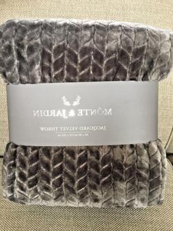 Monte & Jardin Jacquard Velvet Throw Blanket,60 x 80 inches