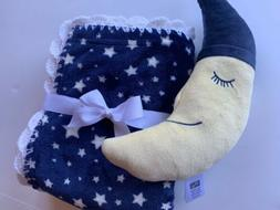 Moon and Stars Baby Blanket Gift Set - Blue & White