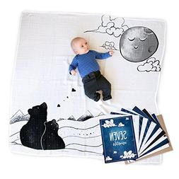 To the Moon 100% Cotton Baby Blanket Swaddle and Milestone P