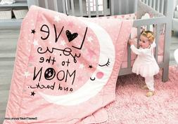 MOON AND STARS BABY GIRLS Crib BEDDING Set 100% COTTON LIMIT