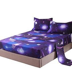 YOUSA Moon and Stars Print Bed Sheet Set 3D Blue Galaxy Bedd