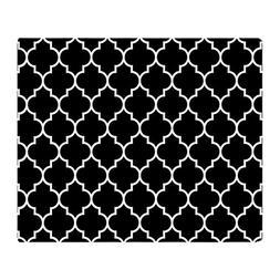 CafePress - BLACK AND WHITE Moroccan Quatrefoil - Soft Fleec
