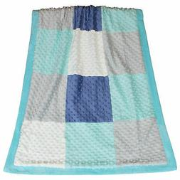 Mosaic Soft Plush Minky Dot Patchwork Baby Blanket by The Pe