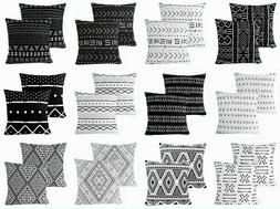 "2 Pack 18x18"" Black & White Premium Throw PILLOW COVER Sofa"