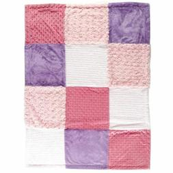 Hudson Baby Multi-Fabric 9-Panel Blanket, Pink
