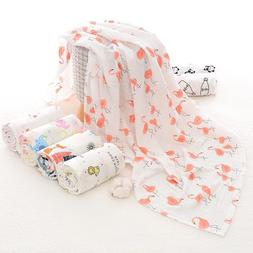 Muslin Baby Swaddle 100% Cotton Flamingo Fruits Print For Ne