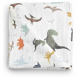 Aenne Baby Muslin Baby Swaddle Blanket Dinosaur Dino Print,