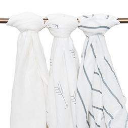 Muslin Baby Swaddle Blankets, 44x44  White, Arrows, Stripes,