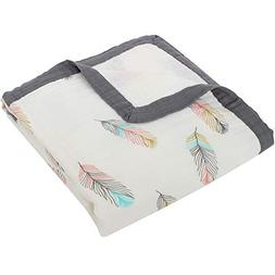 "LifeTree Baby Muslin Stroller Blanket -""Feather Print"" 2 Lay"