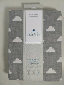 Living Textiles Muslin Jacquard Baby Blanket with Grey Cloud