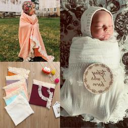 Muslin Newborn Kid Solid Tassels Baby Swaddle Blanket Sleepi
