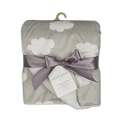 Living Textiles Muslin Printed Velour With Grey Clouds. Doub