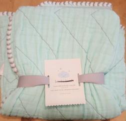 Cloud Island Muslin Quilted Blanket 100/% Cotton 1 blanket JOYFUL MINT