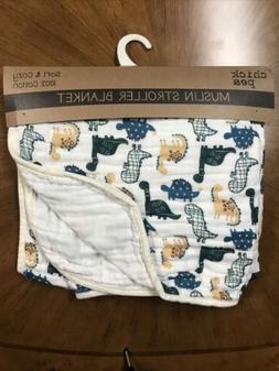 Chick Pea Muslin Stroller Blanket White Multi Baby Boys New