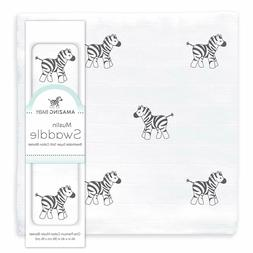 Amazing Baby Muslin Swaddle Blanket, Premium Cotton, Zebra,