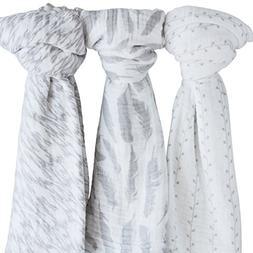 "Muslin Swaddle Blanket 100% Soft Muslin Cotton 3 Pack 47""x 4"