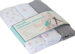 Lollypop Muslin Swaddle Blankets 3-Pk 100% Cotton Printed fo