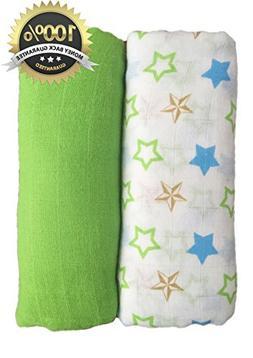 Muslin Swaddle Blankets 2 Pack - Seben Baby - 100% Cotton -