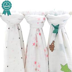 Muslin Swaddle Blankets  - Large 47x47in Unisex Cotton Baby