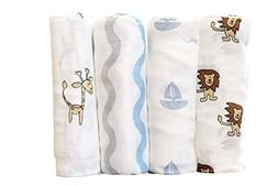 Organic Cotton Muslin Swaddle Blankets - 4 Pack - For Girl o