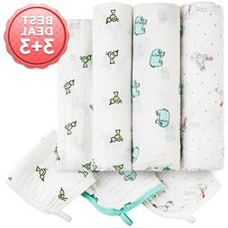 Baby Muslin Swaddle Blankets 3+3 Pack – Large Newborn Rece