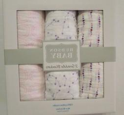 Hudson Baby 3 Pack Muslin Swaddle Blankets - Pink Constellat