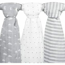 Muslin Baby Swaddle Blankets, 47x47  Grey Cloud, Stripe & St