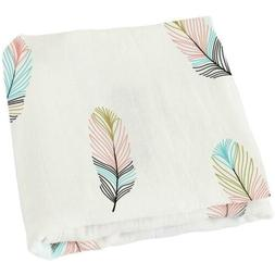 """LifeTree Muslin Swaddle Blankets,""""Feather Print"""" Bamboo Cott"""