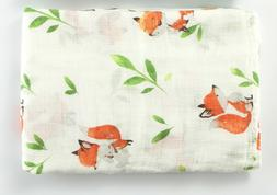Muslin Swaddle Blankets Fox Infant Receiving Blanket Soft Ba