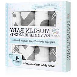 Momo Bebe Muslin Baby Swaddle Blankets - 4 pack Large 47x47