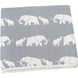 LifeTree Muslin Toddler Blanket -Elephant Print Extra Soft S