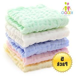 5 Pack Baby Muslin Washcloths and Towels for Sensitive Skin